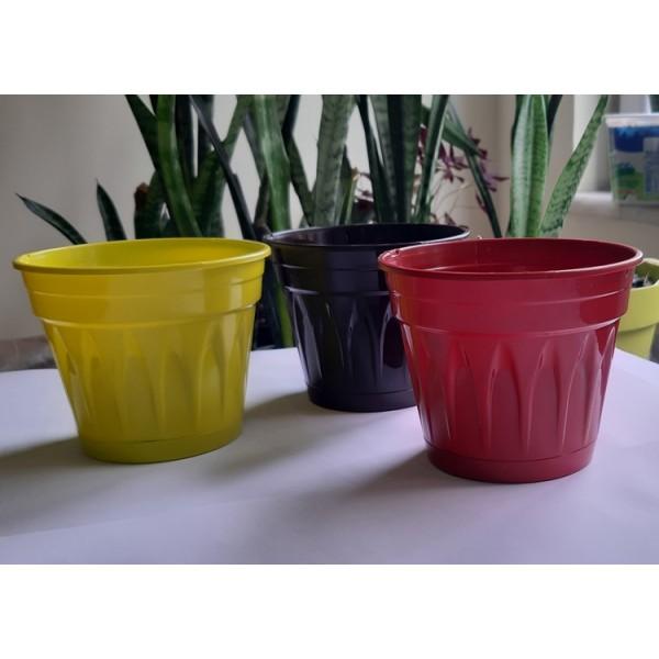 Mostar 12 cm 0,7 litre 1.kalite tabaklı salon saksısı (3 adet, 3 renk)